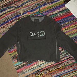 cropped dark grey sweatshirt